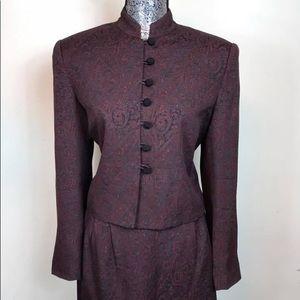 Casual Corner Petite Burgundy & Black Pant Suit